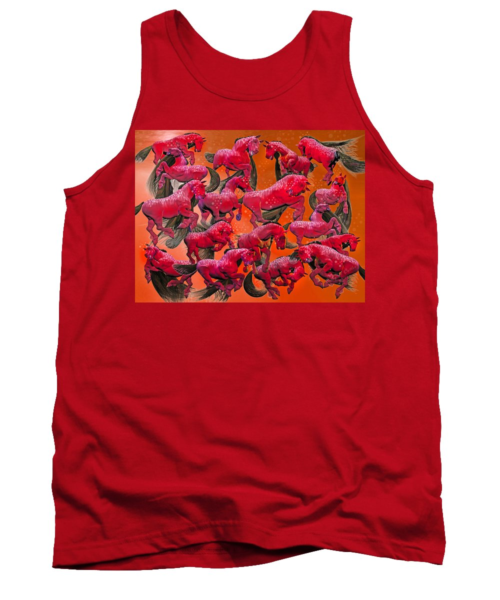 Horse Tank Top featuring the digital art Relative Hell by Betsy Knapp