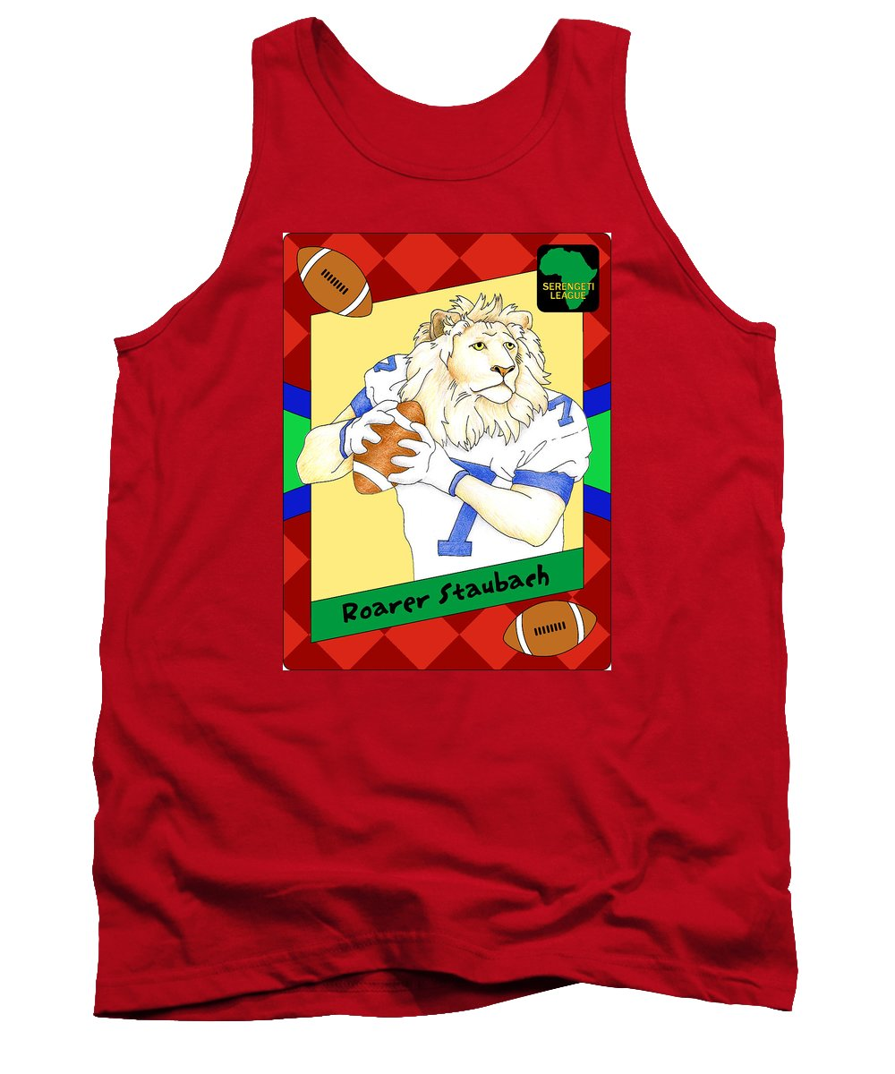 Football Tank Top featuring the digital art Roarer Staubach by Alison Stein