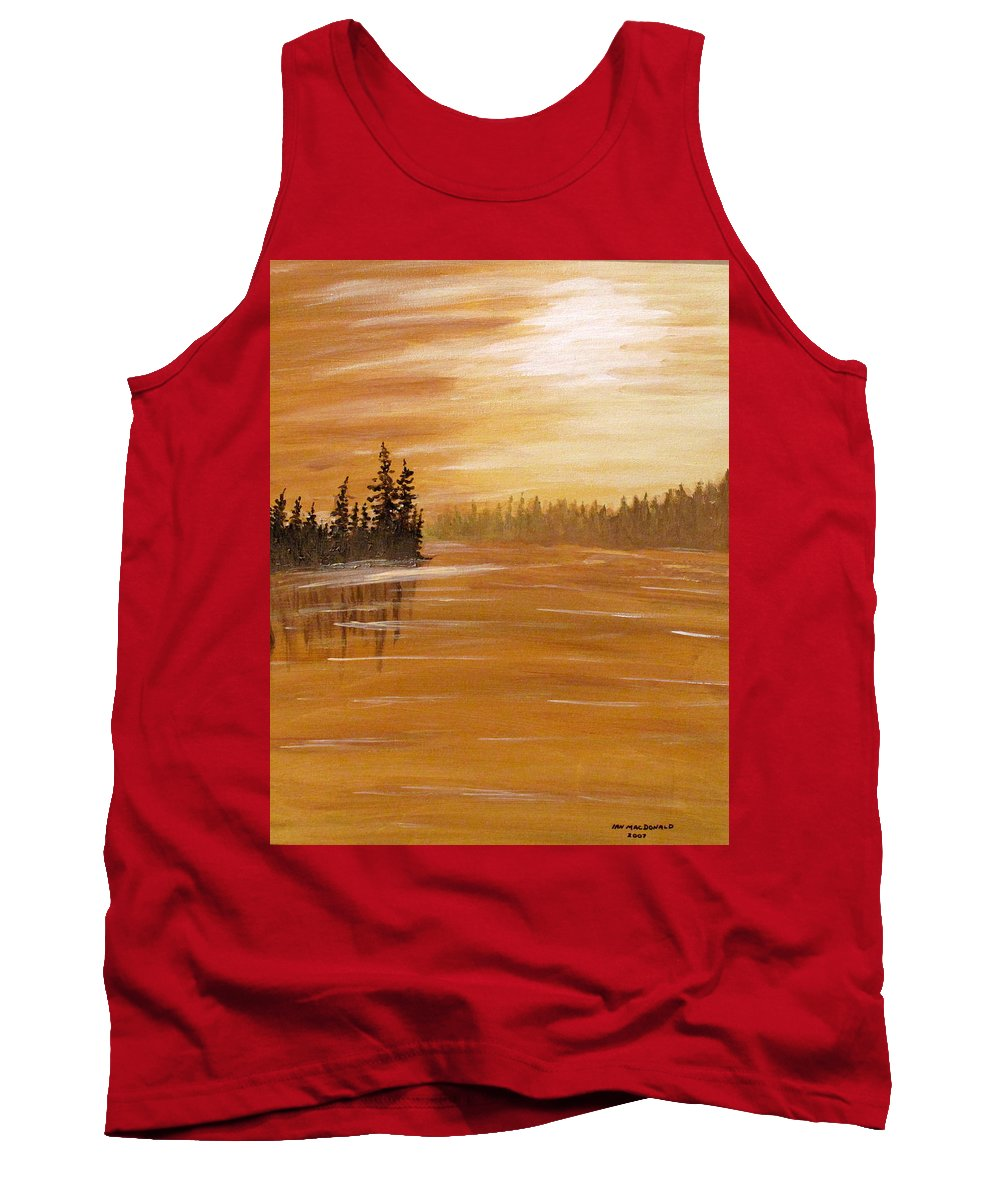 Northern Ontario Tank Top featuring the painting Rock Lake Morning 1 by Ian MacDonald