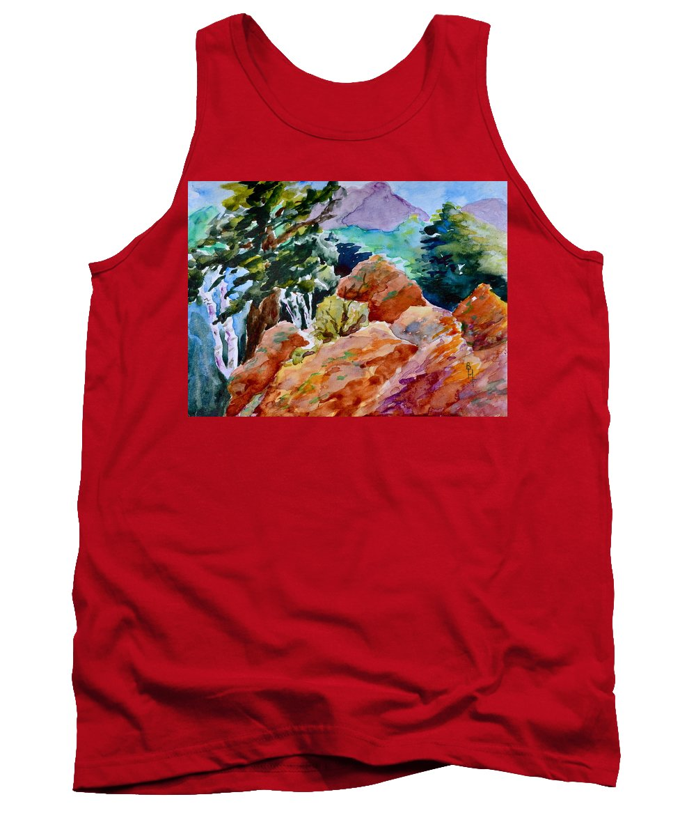 Landscape Tank Top featuring the painting Rocks Near Red Feather by Beverley Harper Tinsley