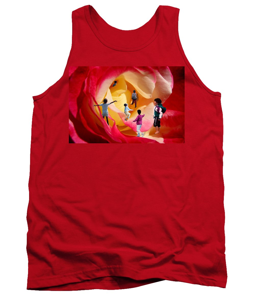Rose Tank Top featuring the digital art Rose Labyrinth by Lisa Yount