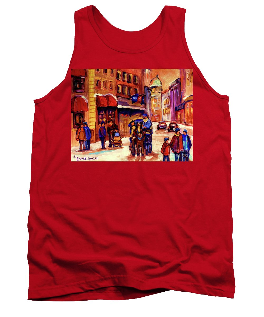Montreal Tank Top featuring the painting Rue St. Paul Old Montreal Streetscene In Winter by Carole Spandau