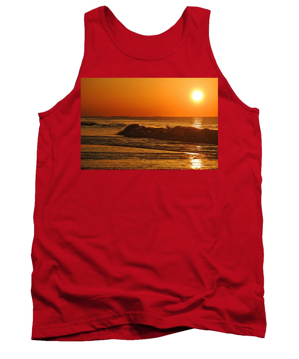 Palm Tank Top featuring the digital art Rushing Waves by Michael Thomas