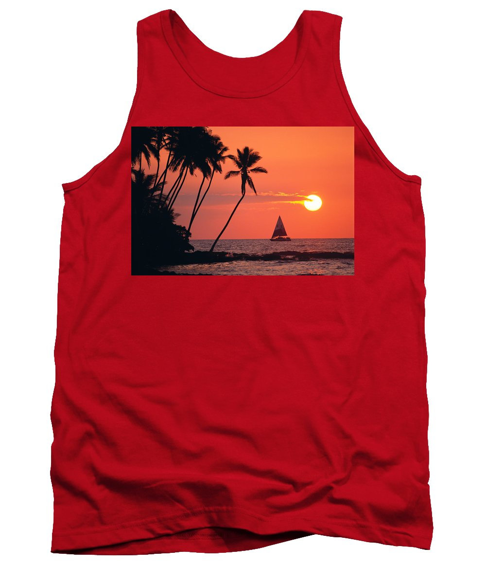 Big Island Tank Top featuring the photograph Sailboat At Sunset by Bob Abraham - Printscapes
