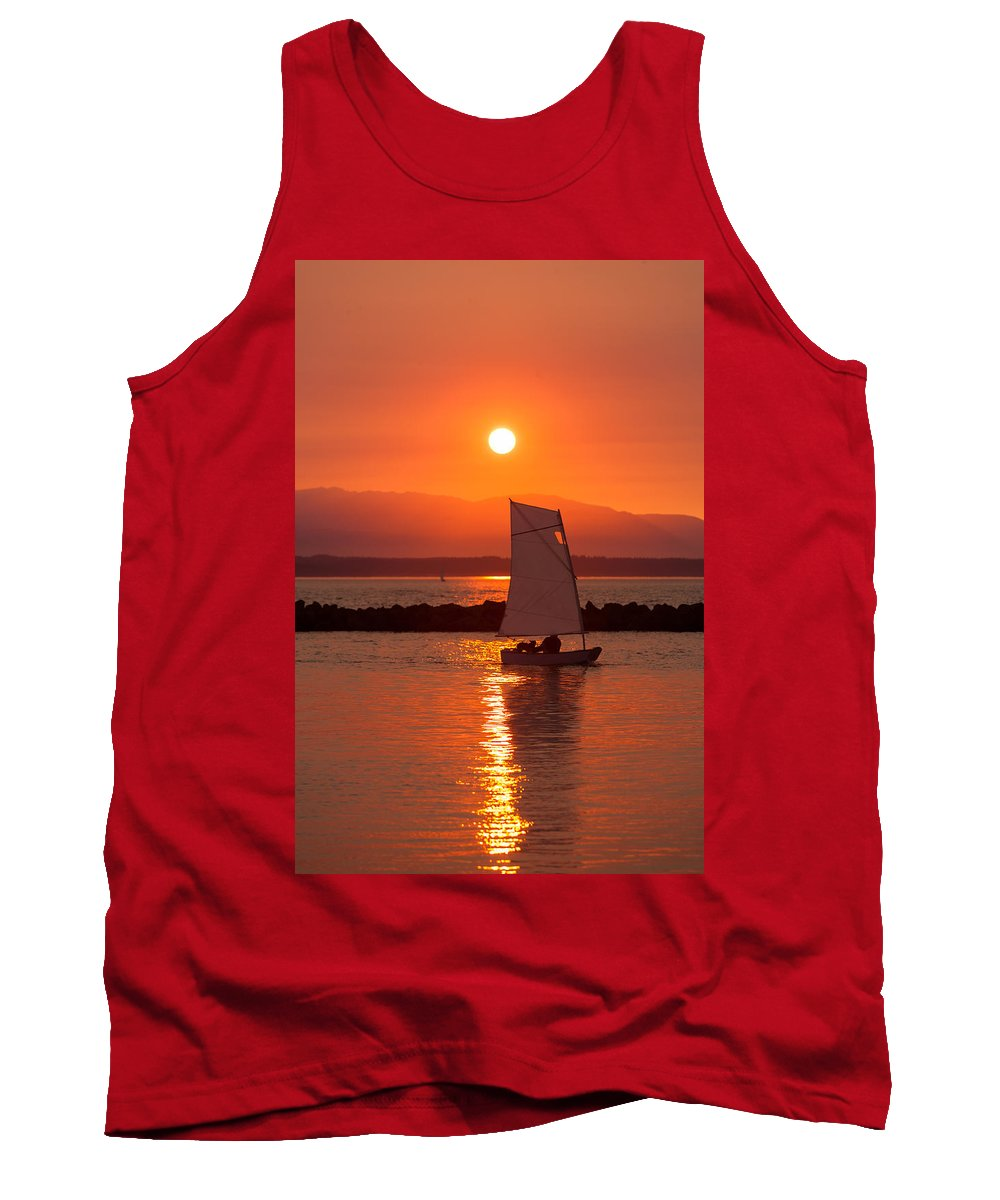 Sunset Tank Top featuring the photograph Sailors Solitude 1 by Scott Campbell