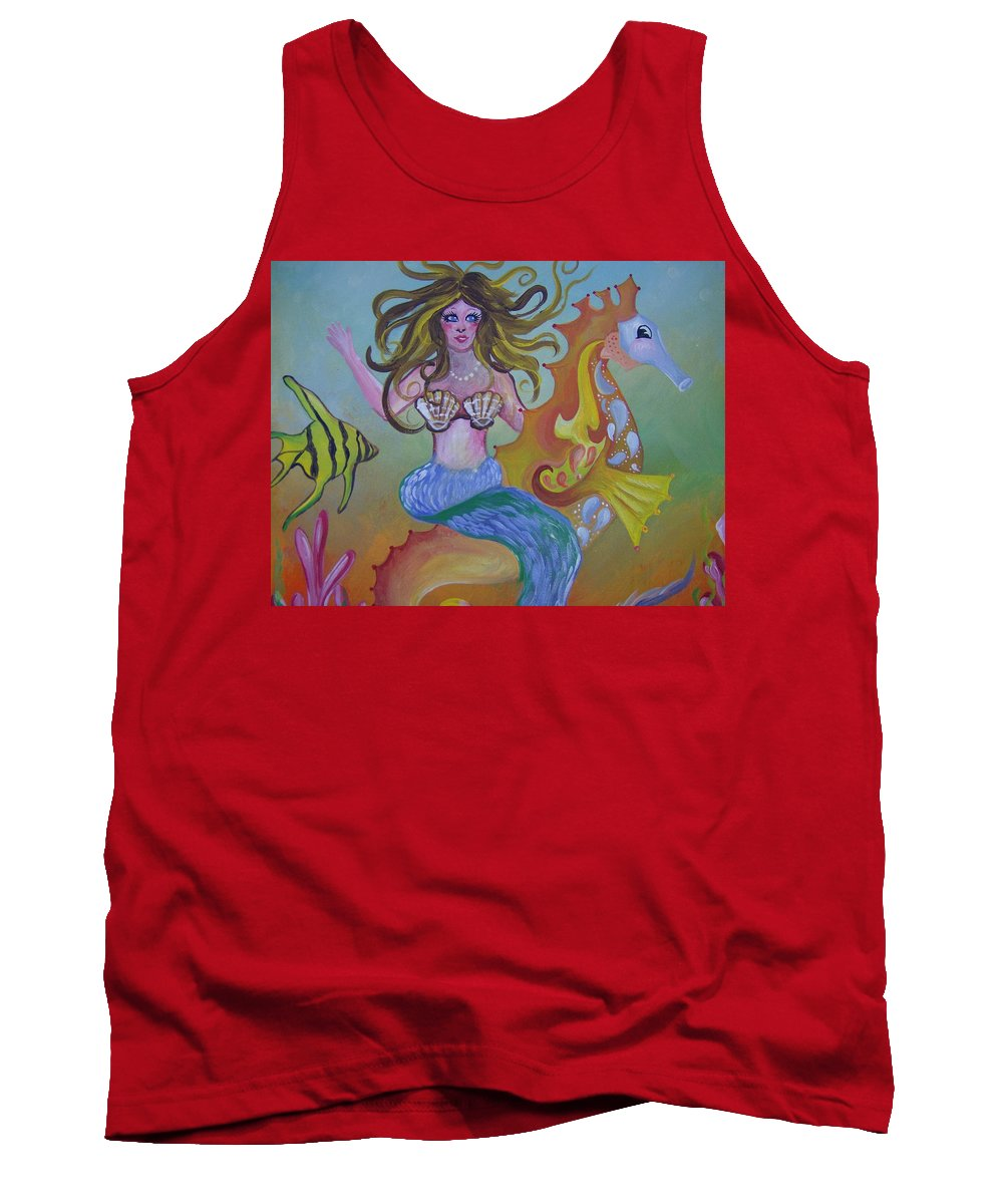 Seahorse Tank Top featuring the painting Sea Taxi by Leslie Manley
