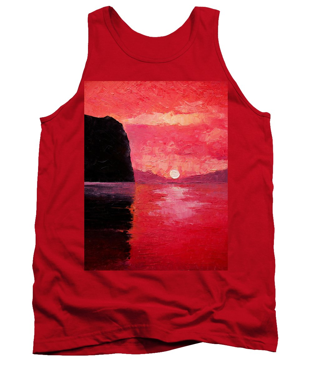 Landscape Tank Top featuring the painting Seaside Sunset by Sergey Bezhinets