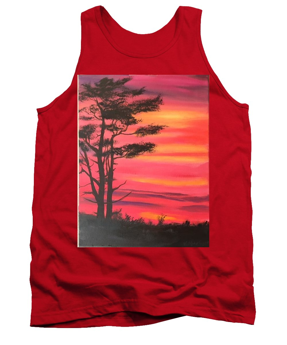 Tree Sunset Evening Morning Sunrise Dusk Landscape Pink Red Orange Yellow Silouette Desert Serene Glow Sun Sunglow Clouds Tank Top featuring the painting Serenity Tree by Vern Holdforth
