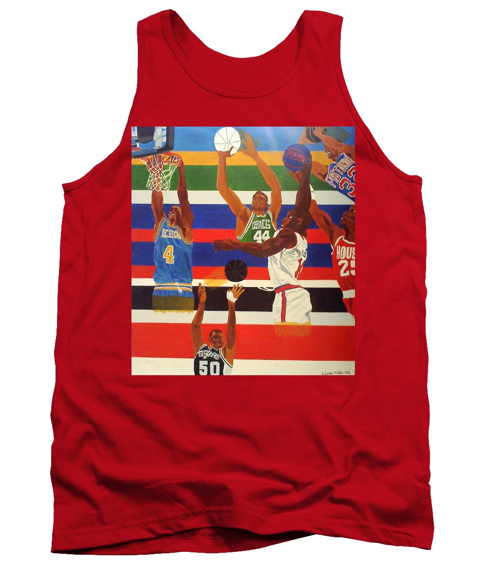 Basketball Tank Top featuring the painting Shoots N Hoops by Leslye Miller