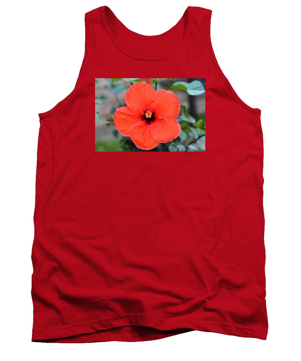 Red Hibiscus Tank Top featuring the photograph Silky Red Hibiscus Flower by Connie Fox