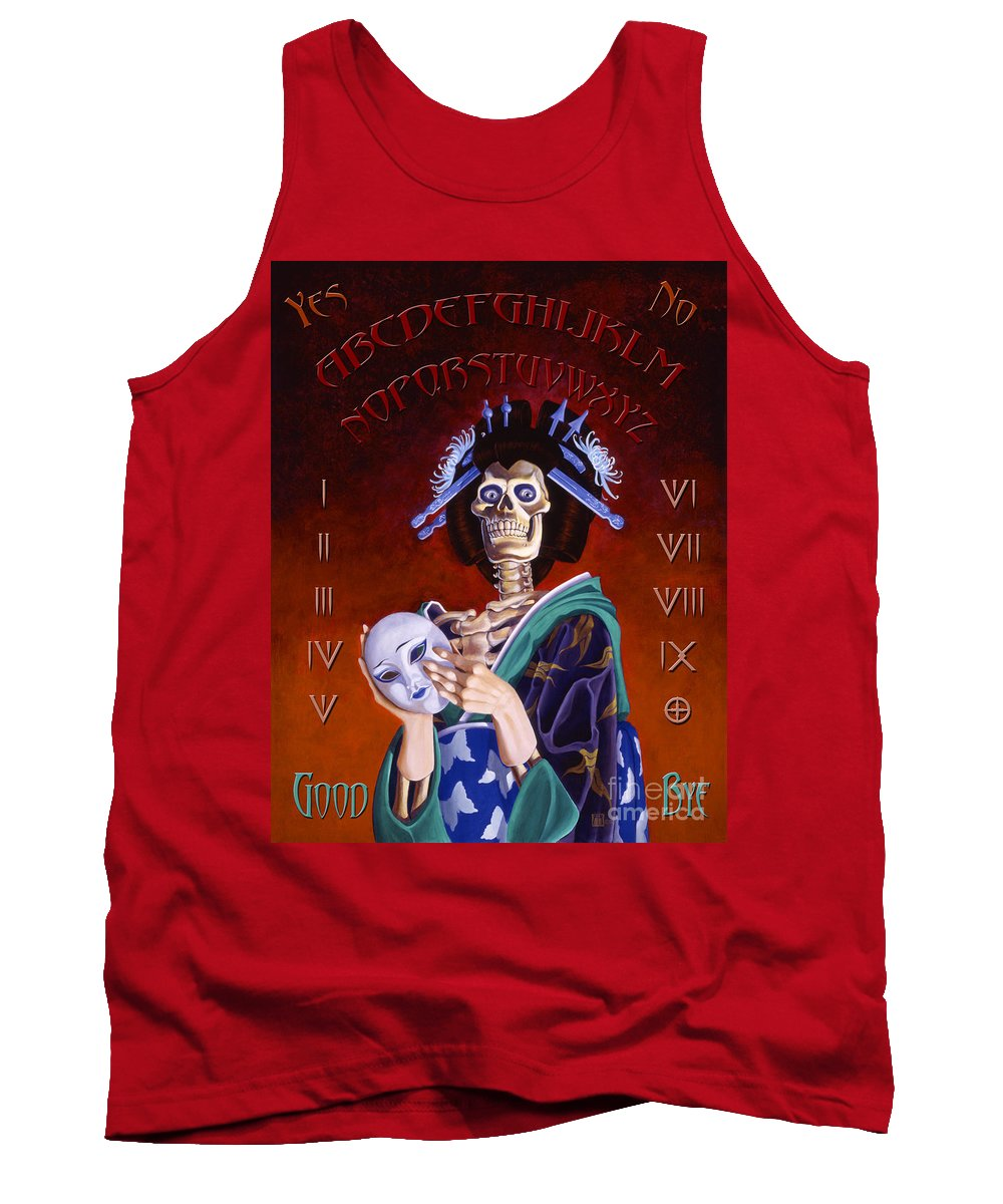 Paranormal Tank Top featuring the painting Skeleton Geisha Ouija Board by Melissa A Benson