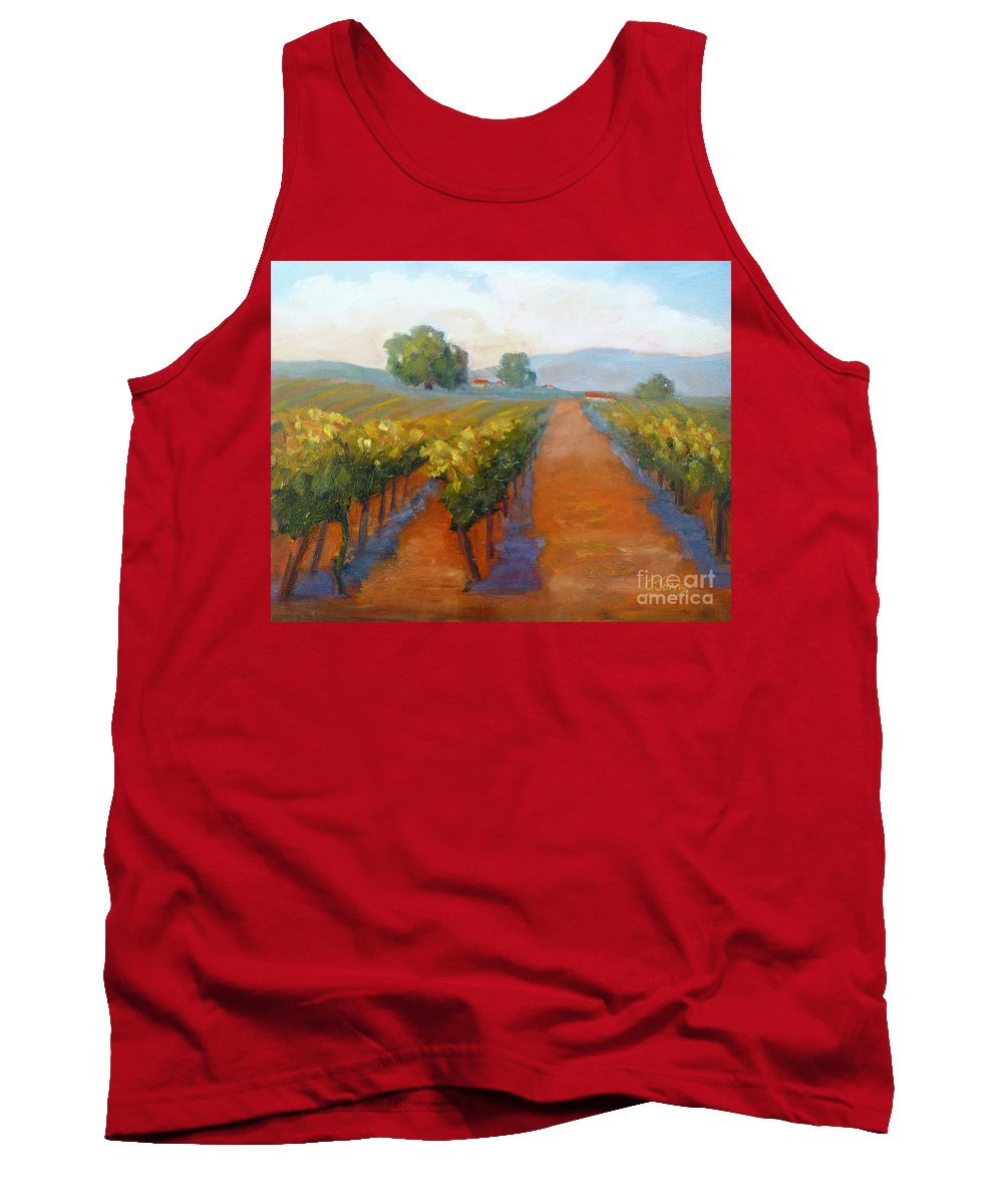 Vineyards Tank Top featuring the painting Sonoma Vineyard by Carolyn Jarvis