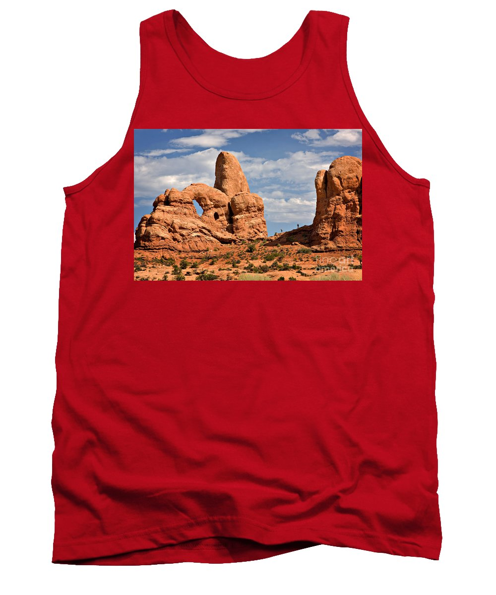 Travel Tank Top featuring the photograph South Window Arches National Park by Louise Heusinkveld
