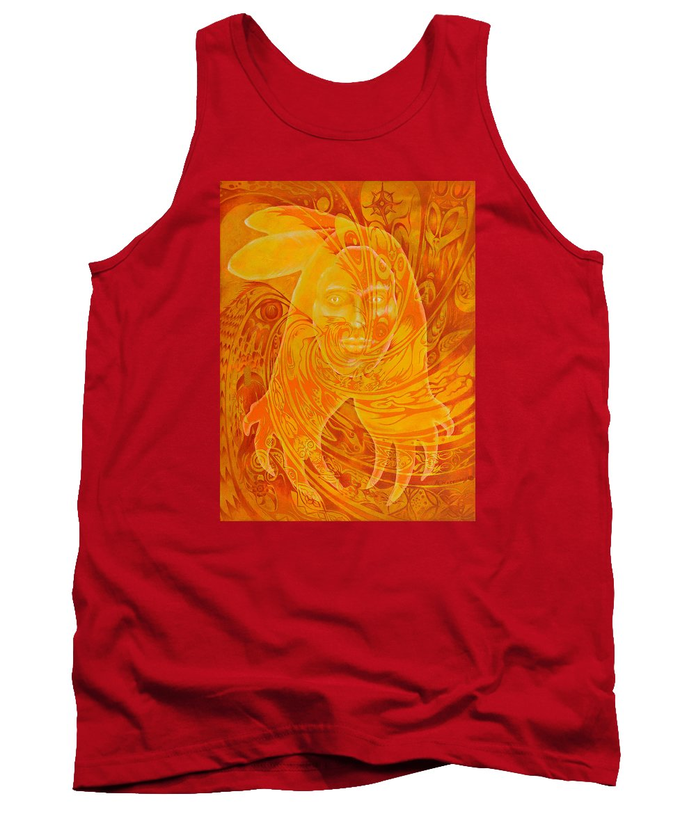 Native American Tank Top featuring the painting Spirit Fire by Kevin Chasing Wolf Hutchins