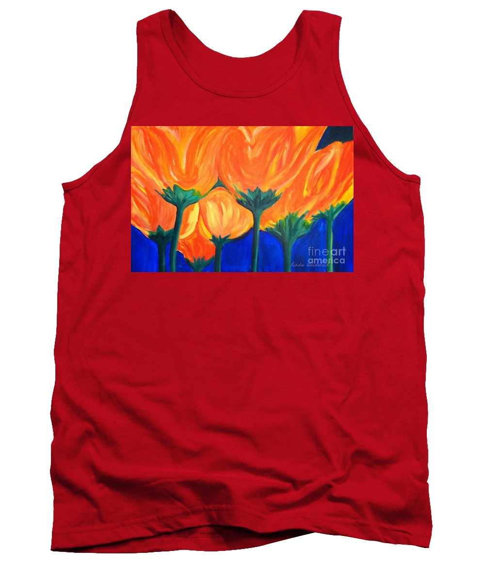 Spring Flowers Tank Top featuring the painting Spring Flowers by Linda Waidelich