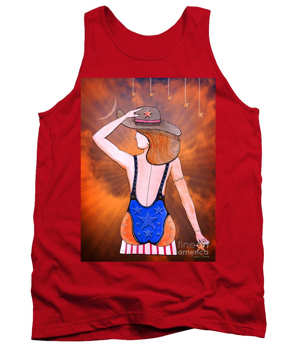 Pen And Ink Art Tank Top featuring the drawing Stargirl Takes Some Sun And Moon by Joseph J Stevens