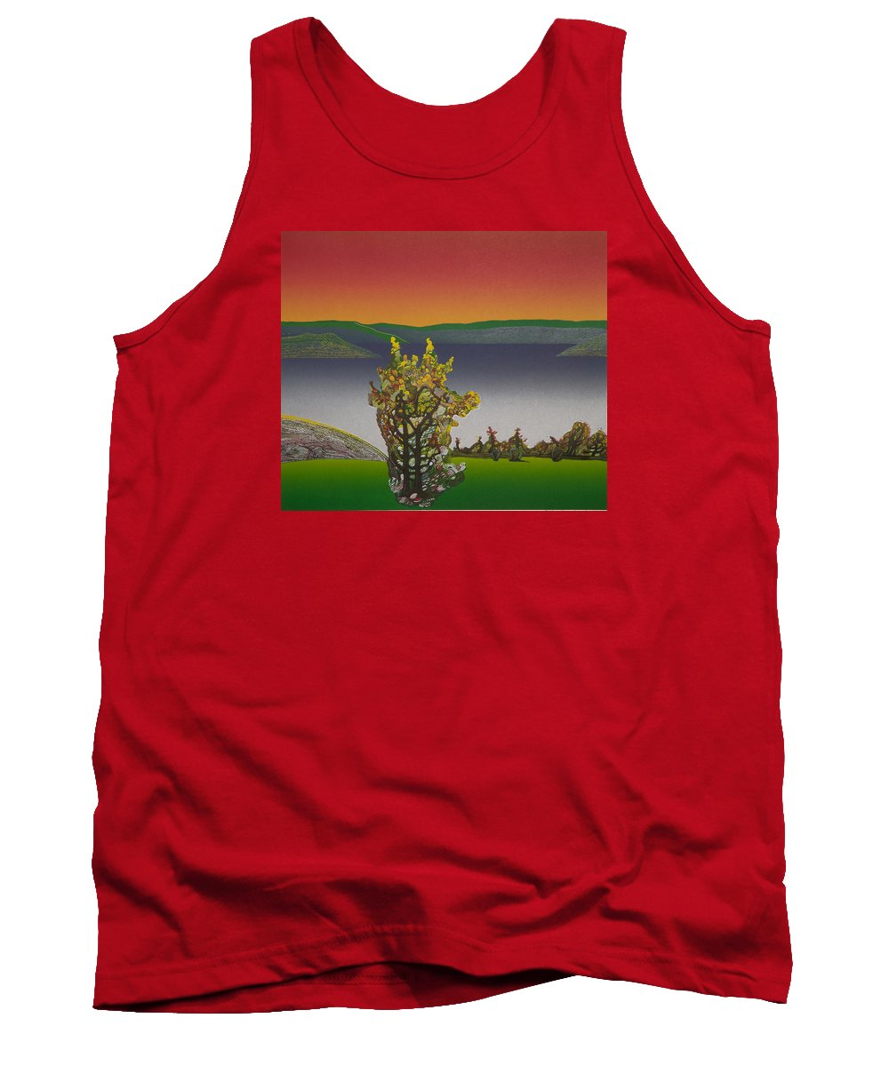 Landscape Tank Top featuring the drawing Static View. by Jarle Rosseland