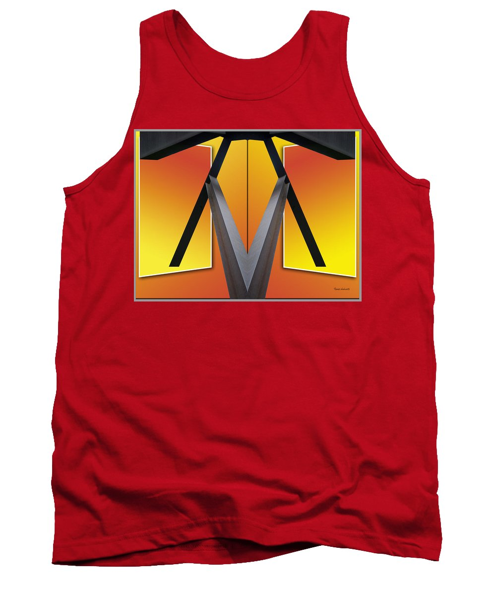 Out Of Bounds Tank Top featuring the photograph Steel Beams 02 Mirror Image by Thomas Woolworth