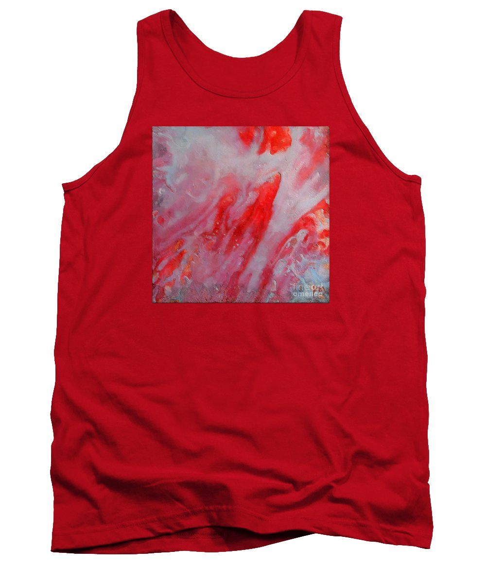 Abstract Tank Top featuring the painting Strawberry Ice Cream by Dragica Micki Fortuna