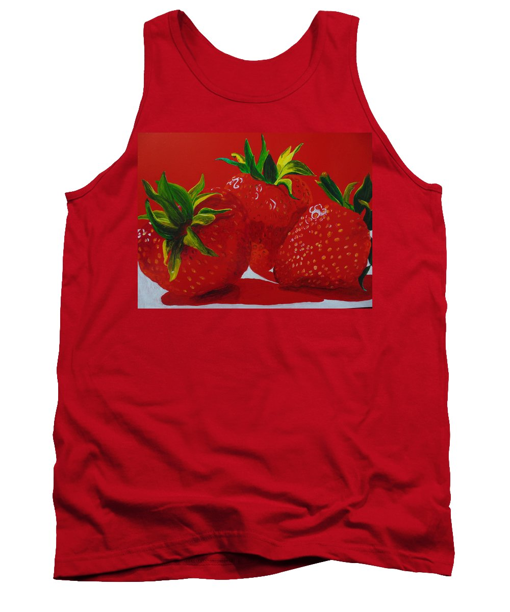 Strawberry Tank Top featuring the painting Strawberry Red by Pat Gerace