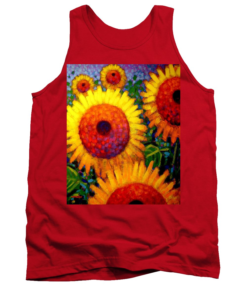 Flowers Tank Top featuring the painting Sunflowers by John Nolan