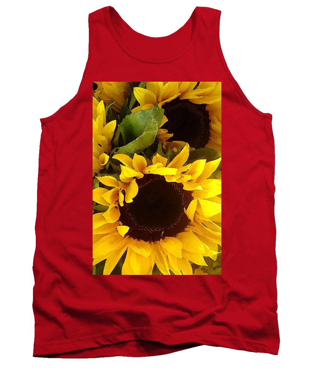Sunflowers Tank Top featuring the painting Sunflowers Tall by Amy Vangsgard