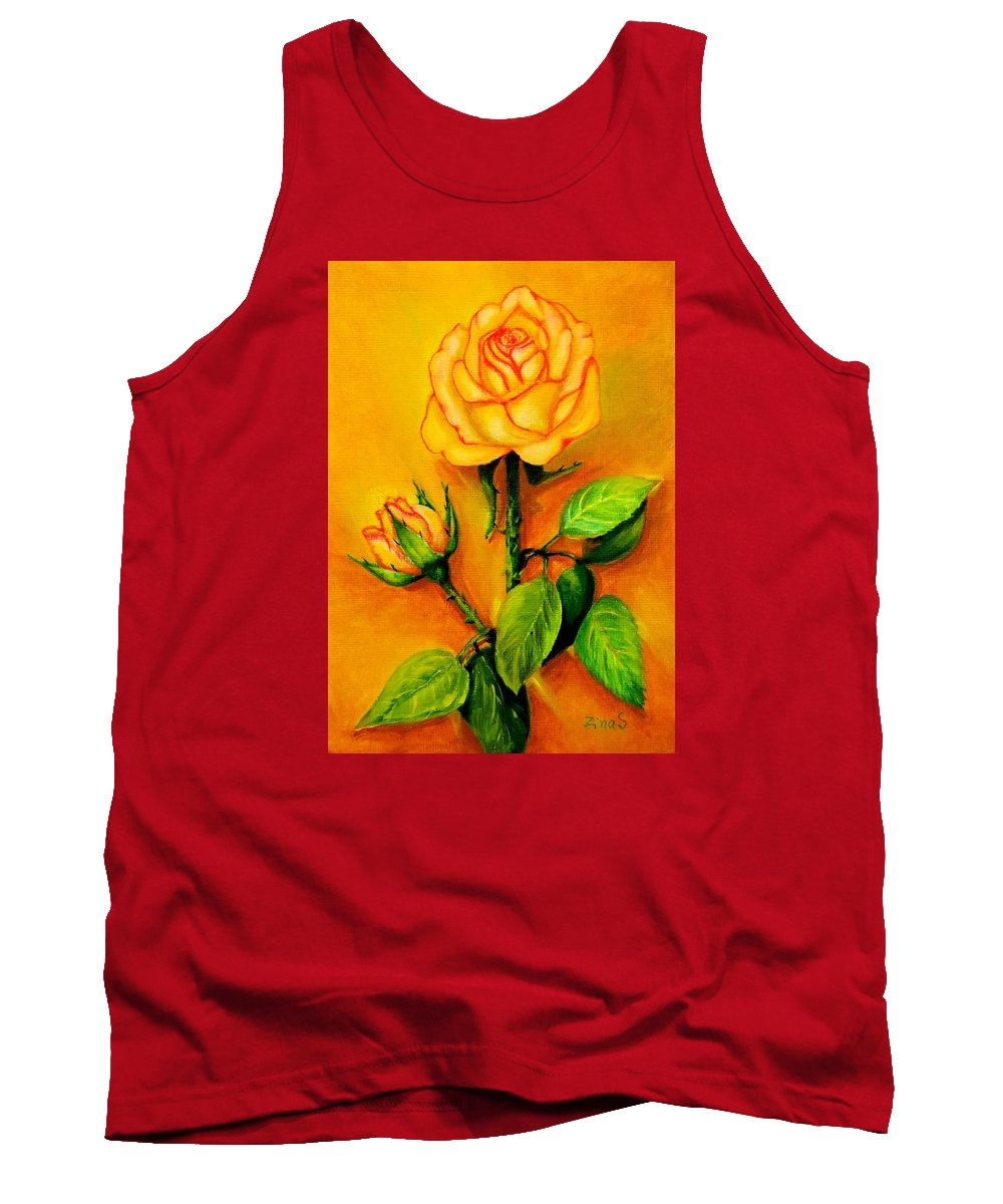 Rose Tank Top featuring the painting Sunny Rose by Zina Stromberg