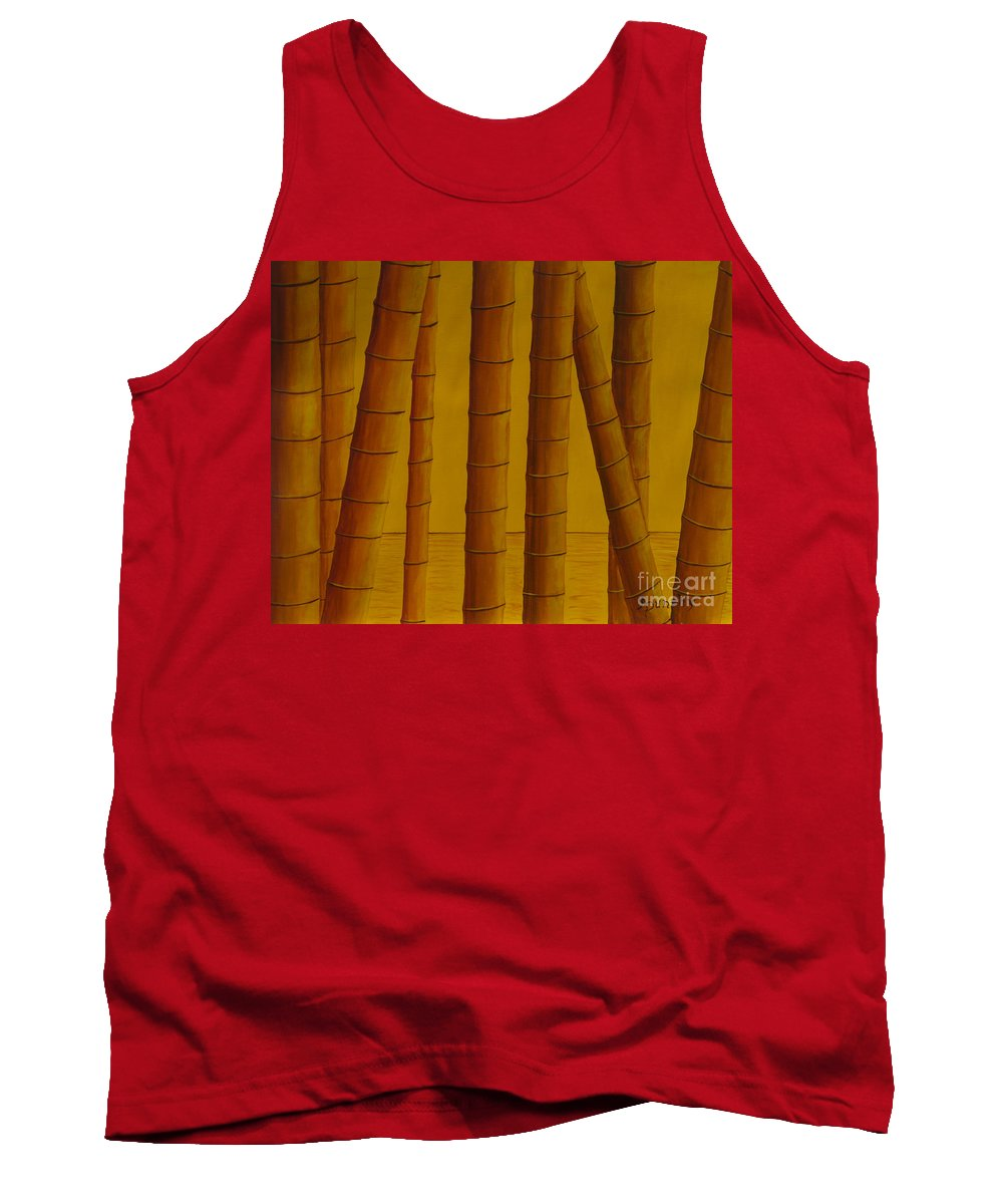 Bamboo Tank Top featuring the painting Sunrise At Bamboo Grove by Anthony Dunphy