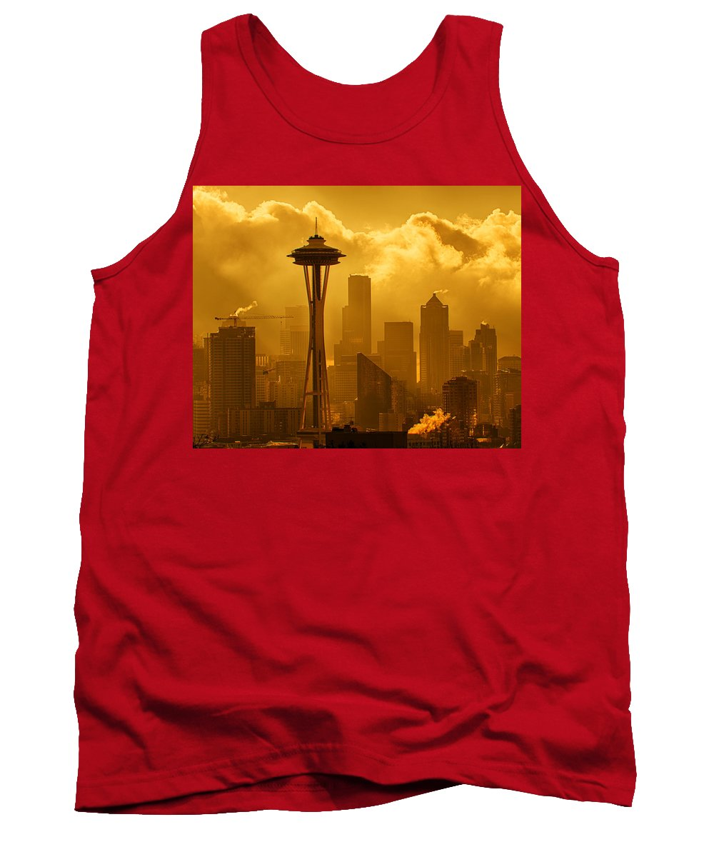 Seattle Tank Top featuring the photograph Sunrise In Seattle by Bob Stevens