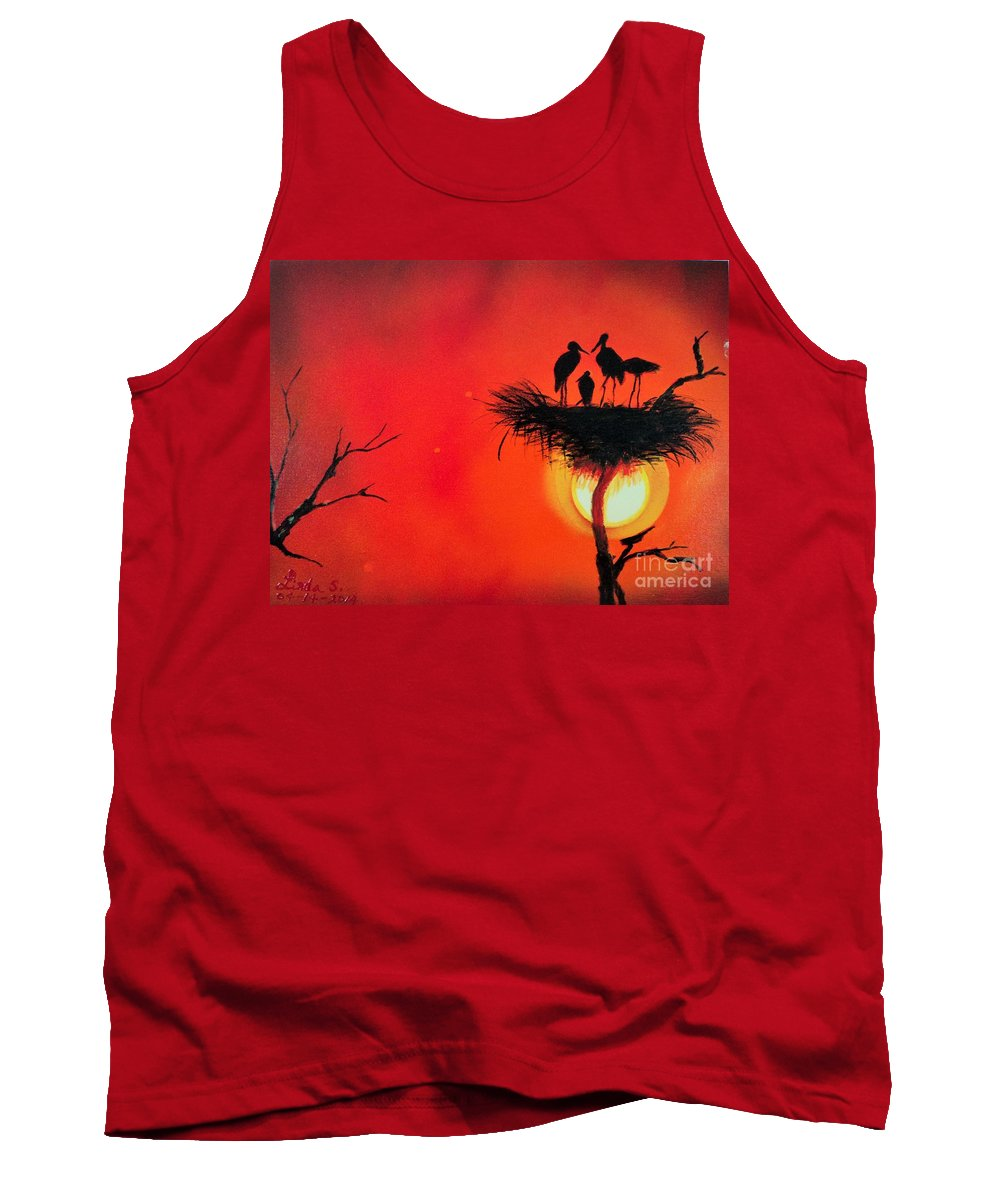 Sun Tank Top featuring the painting Sunset Home by Linda Lin