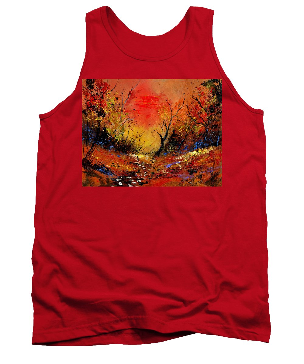 Landscape Tank Top featuring the painting Sunset In The Wood by Pol Ledent