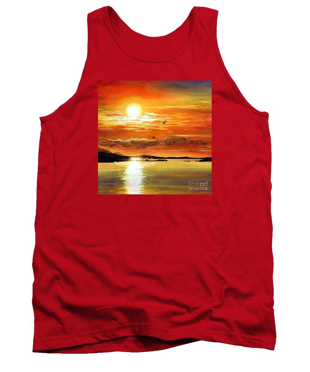 Sunset Tank Top featuring the painting Sunset Lake by Hailey E Herrera