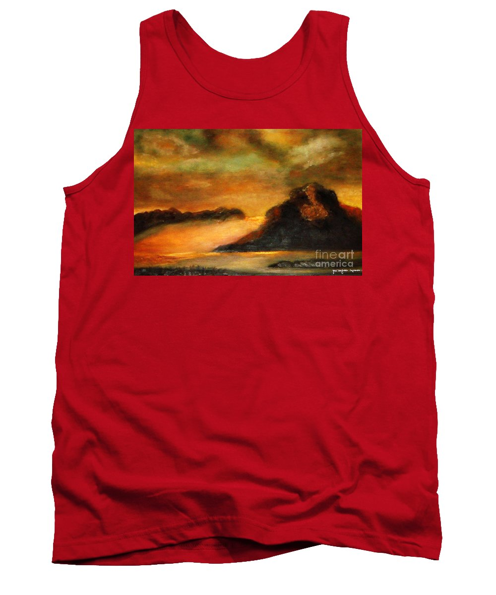 Sunset Tank Top featuring the painting Sunset by Yael VanGruber