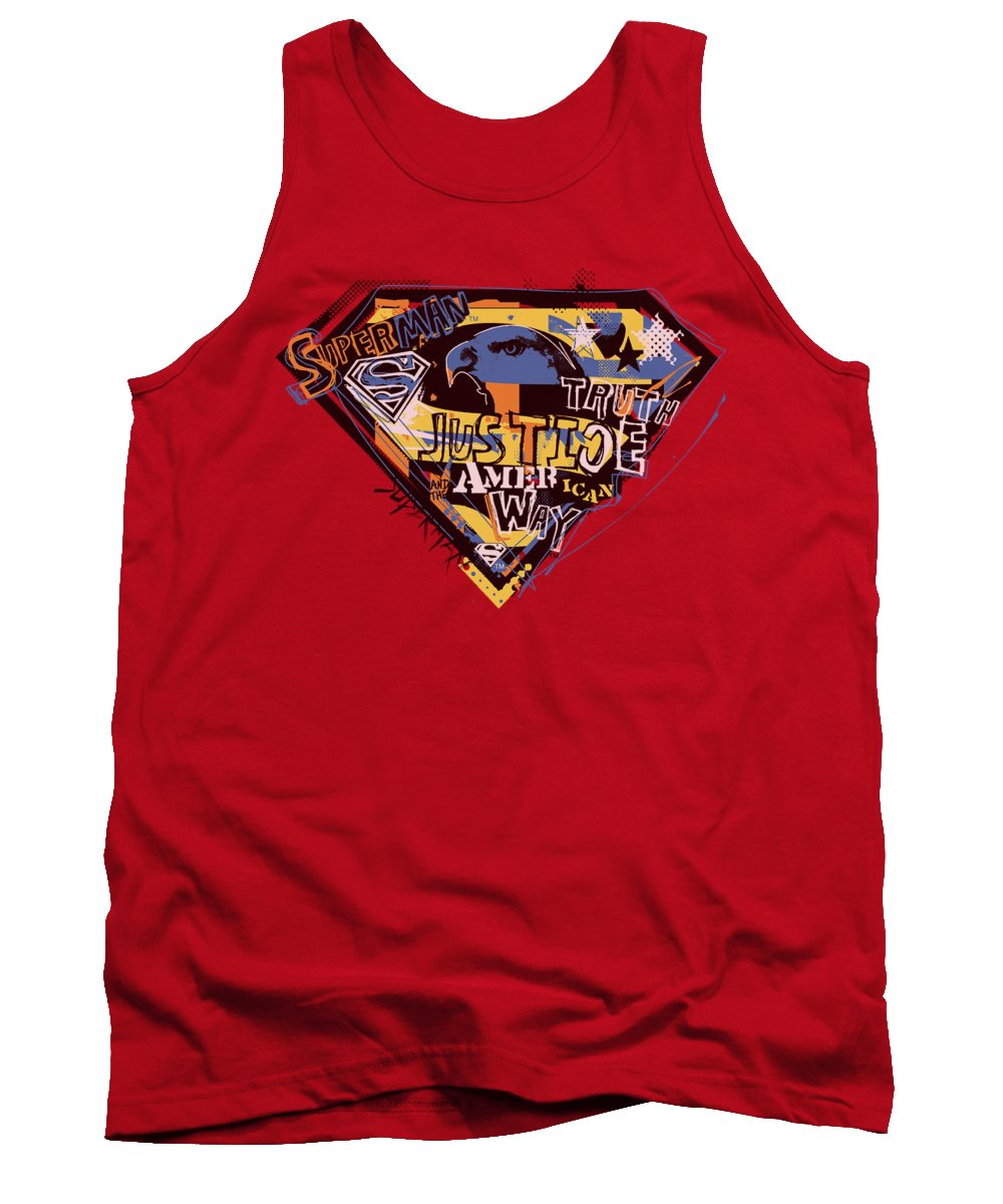Superman Tank Top featuring the digital art Superman - American Way by Brand A