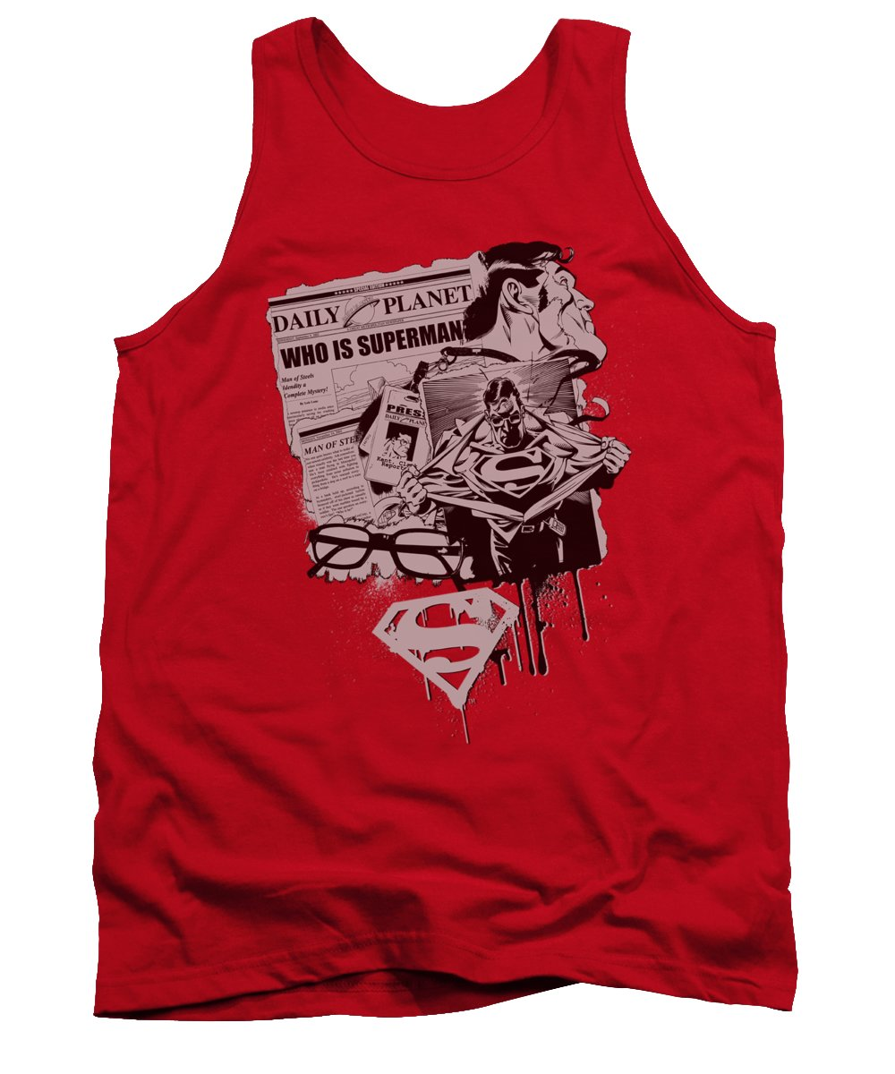 Superman Tank Top featuring the digital art Superman - Identity by Brand A
