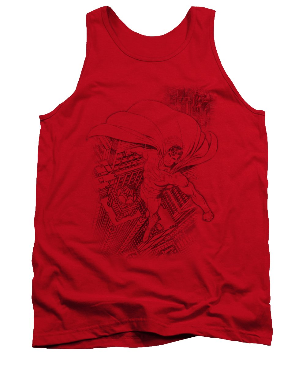 Superman Tank Top featuring the digital art Superman - In The City by Brand A