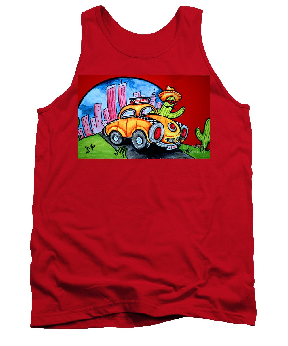 Sign Tank Top featuring the photograph Taco Taxi by Bruce Bain