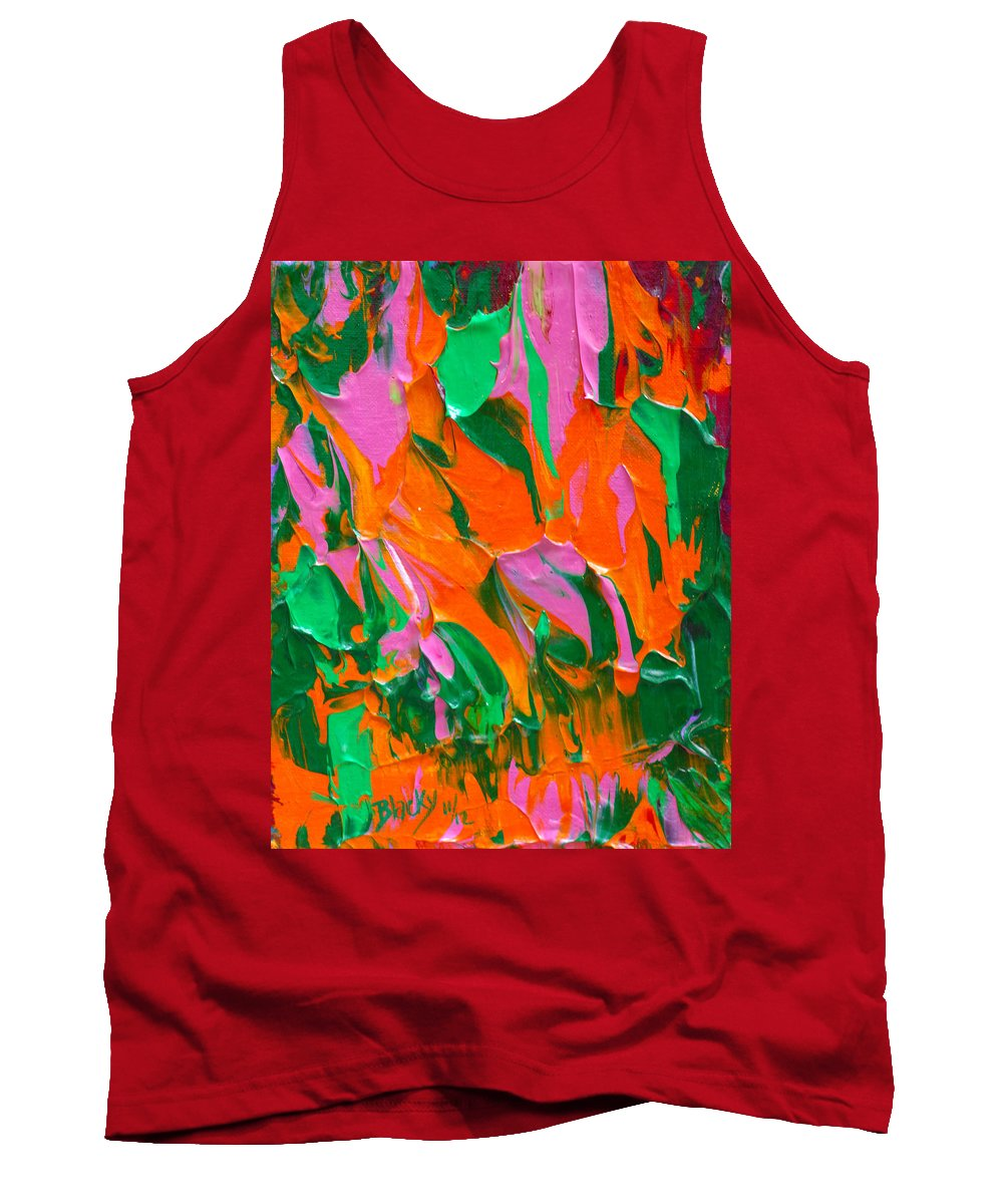 Bold Abstract Tank Top featuring the painting Tangerine And Lime by Donna Blackhall