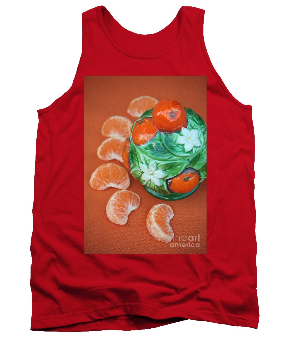Tangerine Tank Top featuring the photograph Tangerine Slices And Ceramics by Luv Photography