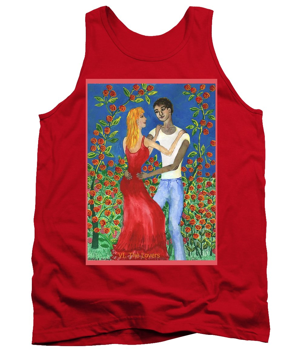 Tarot Tank Top featuring the painting Tarot 6 The Lovers by Sushila Burgess