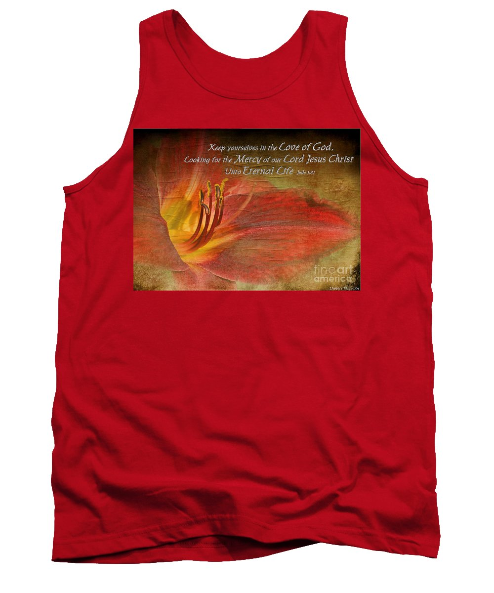 Nature Tank Top featuring the photograph Textured Red Daylily With Verse by Debbie Portwood