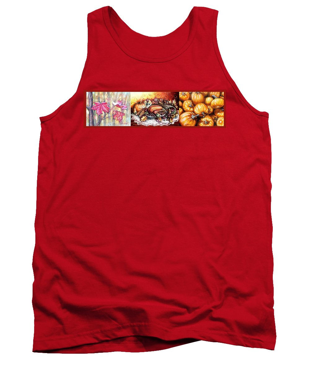 Thanksgiving Tank Top featuring the painting Thanksgiving Autumnal Collage by Shana Rowe Jackson