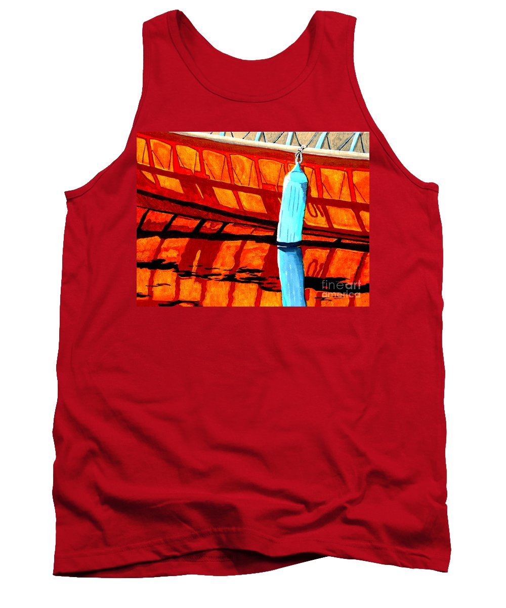 Canoe Tank Top featuring the painting The Blue Fender by Anthony Dunphy