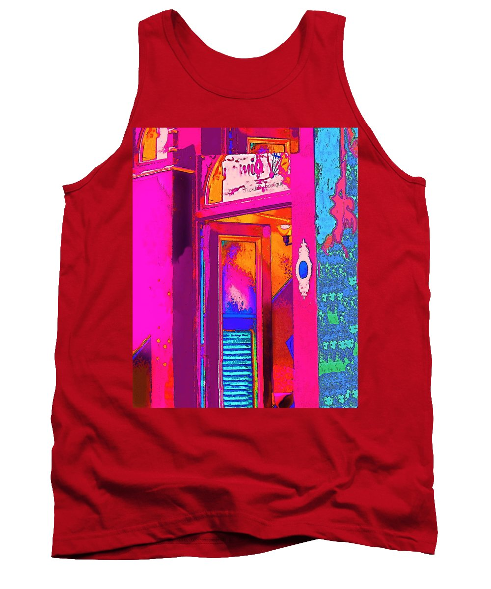 Bright Colorful Modern Contemporary Photograph Digitally Manipulated And Color Enhanced Tank Top featuring the digital art The Boutique Upstairs by Expressionistart studio Priscilla Batzell