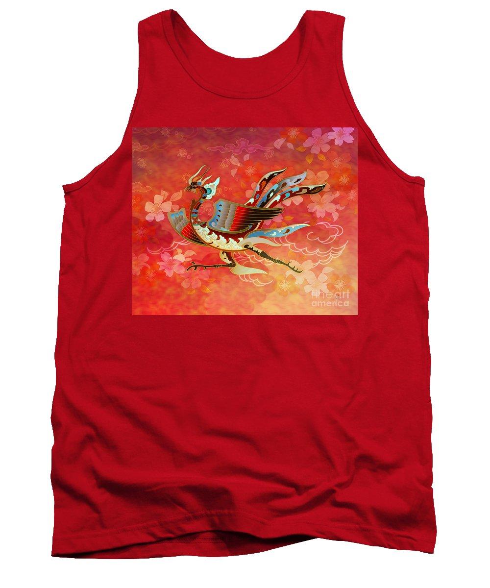 Bird Tank Top featuring the digital art The Empress - Flight Of Phoenix - Red Version by Peter Awax
