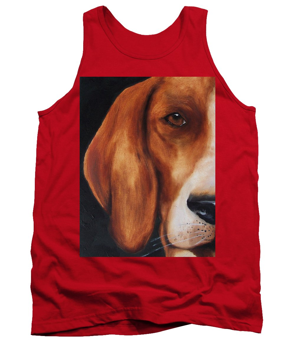 Dog Tank Top featuring the painting The Hound by Kathy Laughlin