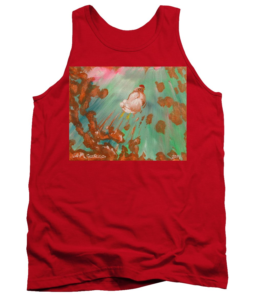 Chicken Tank Top featuring the painting The Launch by Jeff Seaberg