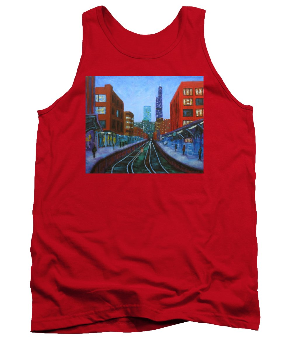 Chicago Art Tank Top featuring the painting The Next Train by J Loren Reedy