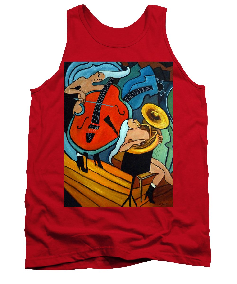 Musician Abstract Tank Top featuring the painting The Tuba Player by Valerie Vescovi