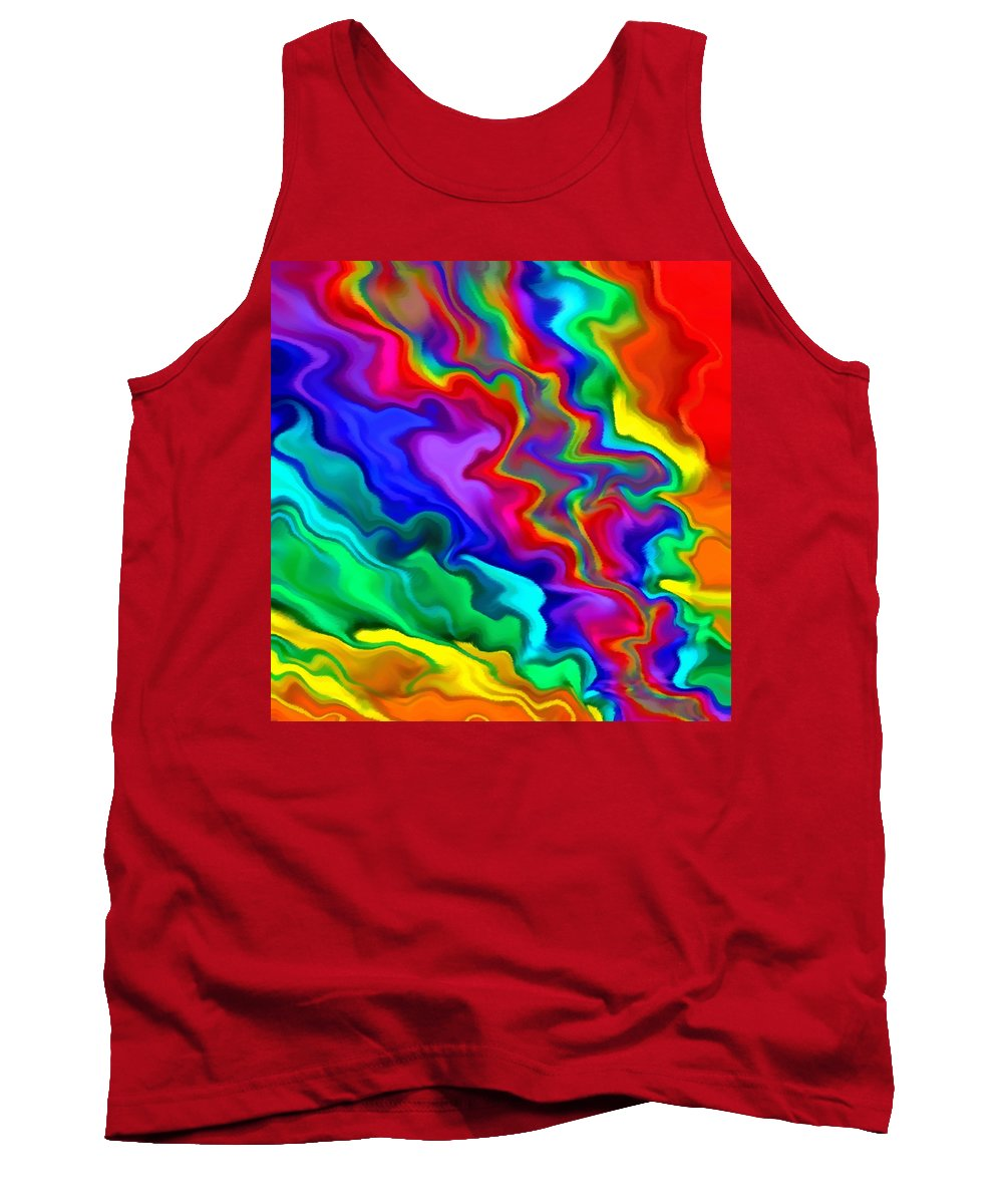 Sky Tank Top featuring the mixed media Then The Sky Exploded 3 by Angelina Vick